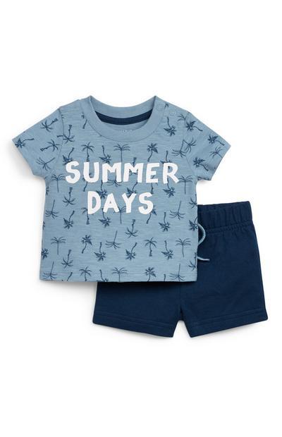 Baby Boy Navy Jersey Palm Print T-Shirt And Shorts Set