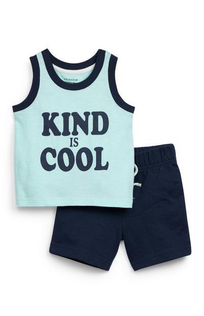 Baby Boy Navy Jersey Vest Set