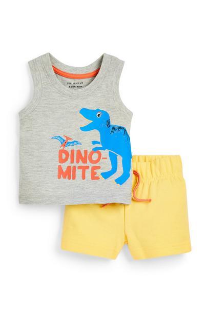 Conjunto de camiseta sin mangas y pantalón corto de punto gris y amarillo con estampado de dinosaurio para bebé niño