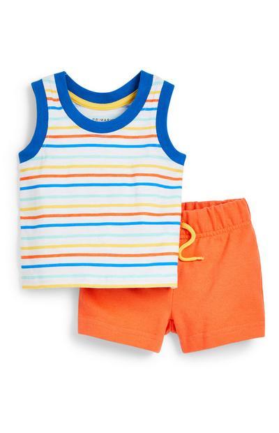 Conjunto de camiseta sin mangas y pantalón corto de punto naranja a rayas para bebé niño