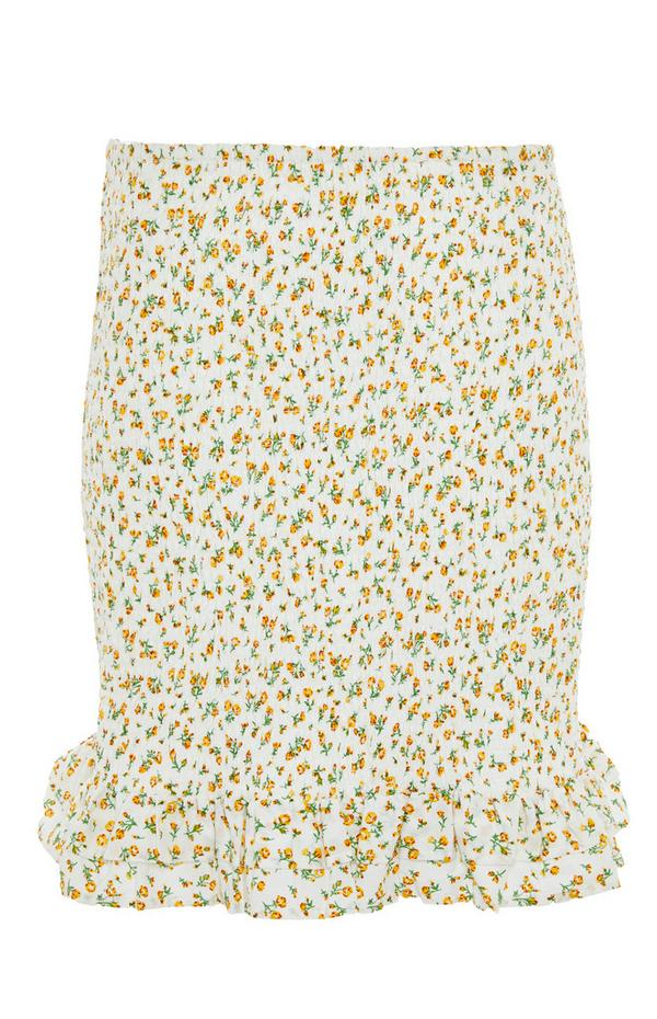 Zitronengelber, geraffter Minirock mit Blumenmuster