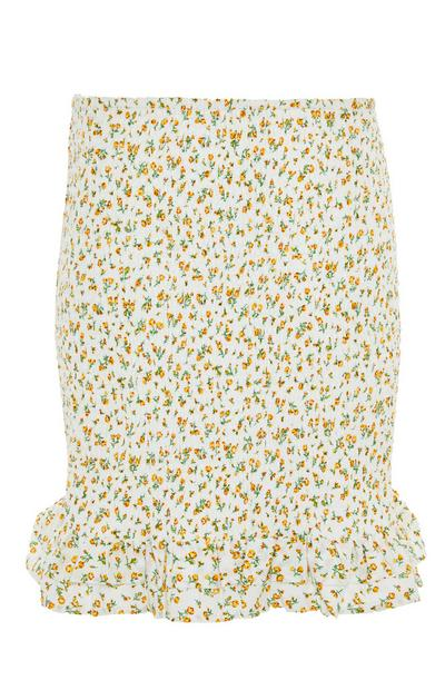 Lemon Yellow Floral Rouched Mini Skirt