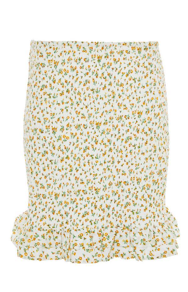 Mini-jupe jaune citron froncée à fleurs