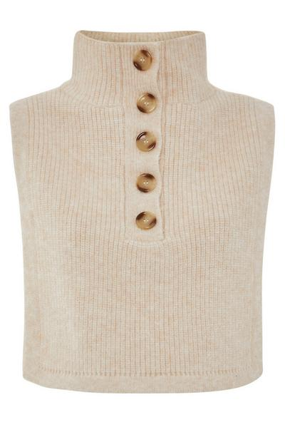 Sleeveless Half Button Sweater in Beige Marl