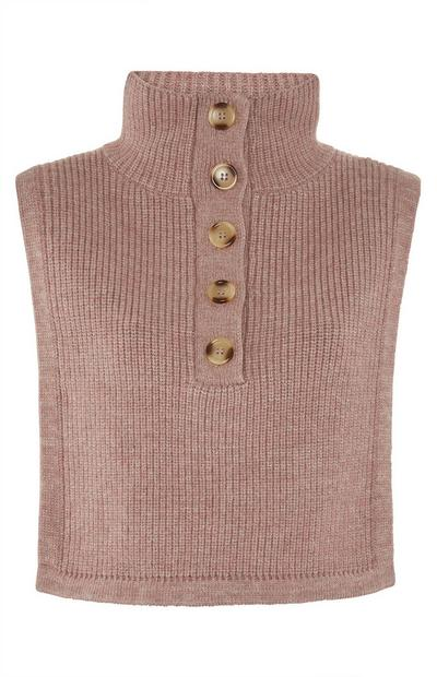 Sleeveless Half Button Sweater in Taupe
