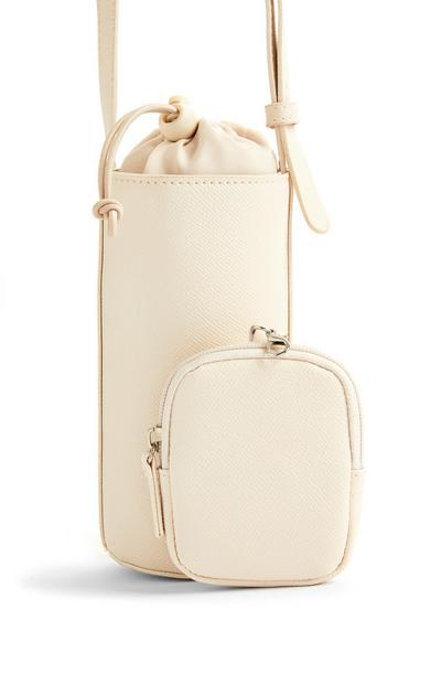 Cream Faux PU Leather 2-In-1 Bottle Bag