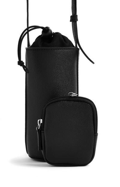 Black Faux PU Leather 2-In-1 Bottle Bag