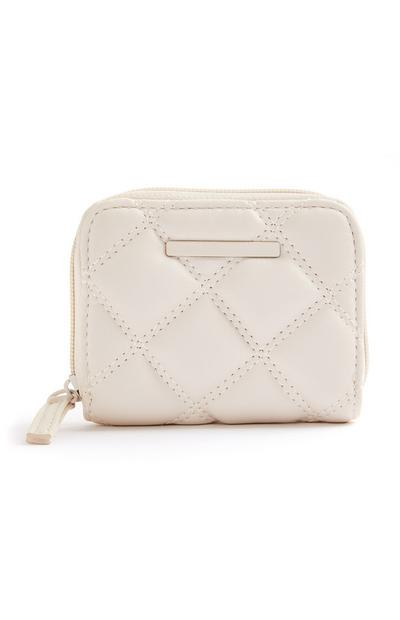 Cream Quilted Tonal Medium Zip Around Purse