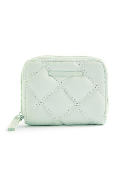 Mint Quilted Tonal Medium Zip Around Purse