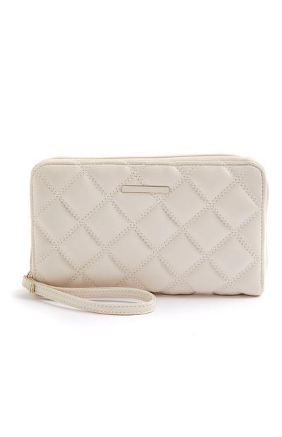 Cream Quilted Tonal Travel Wallet