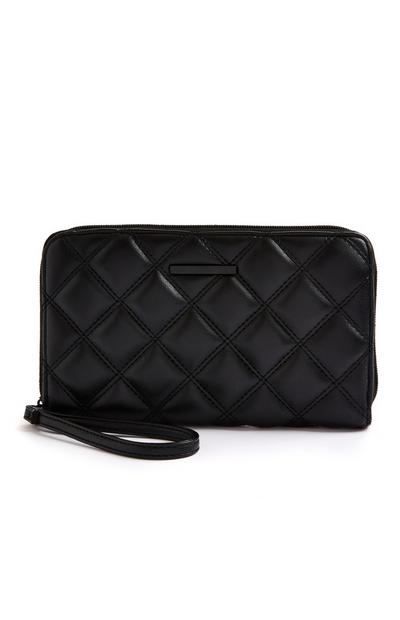 Black Quilted Tonal Travel Wallet