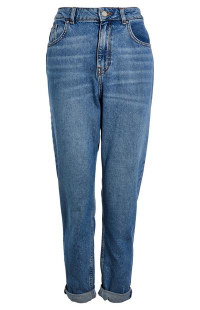Jean mom bleu coupe slim