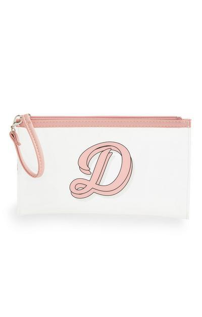 Bolsa máscara inicial cor-de-rosa/transparente