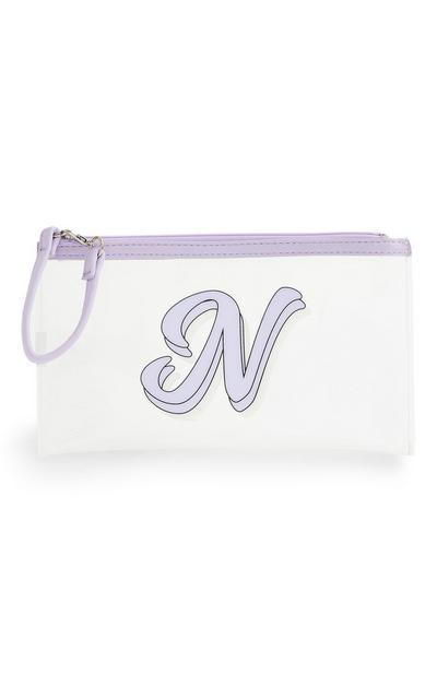 Maskentasche mit Initiale in Transparent und Violett