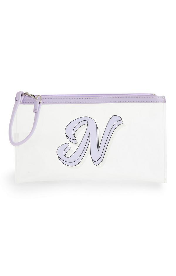 Clear Lilac Initial Mask Pouch