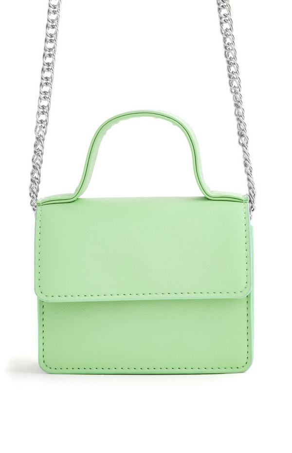 Green Silvertone Chain Top Handle Micro Crossbody Bag