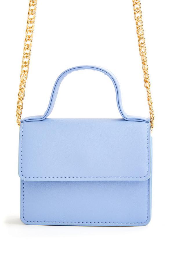 Micro borsa a tracolla blu polvere con catenella dorata e manico