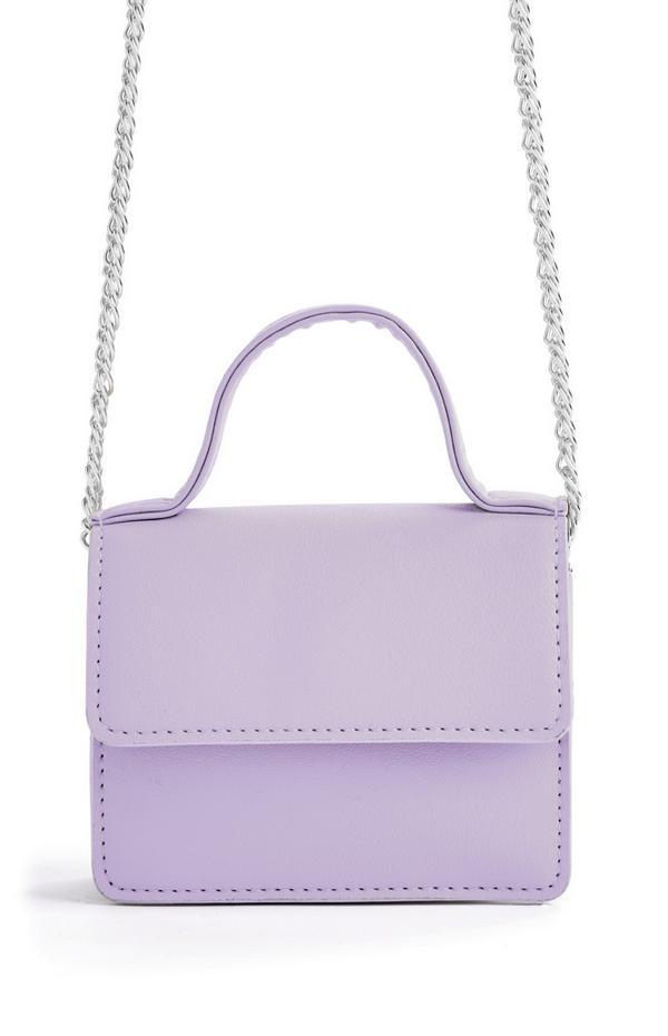 Micro borsa a tracolla lilla con catenella argentata e manico