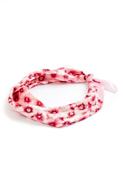Foulard rose à fleurs