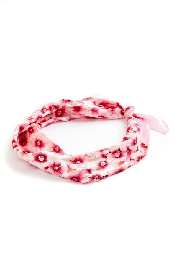 Fazzoletto per collo rosa con stampa floreale