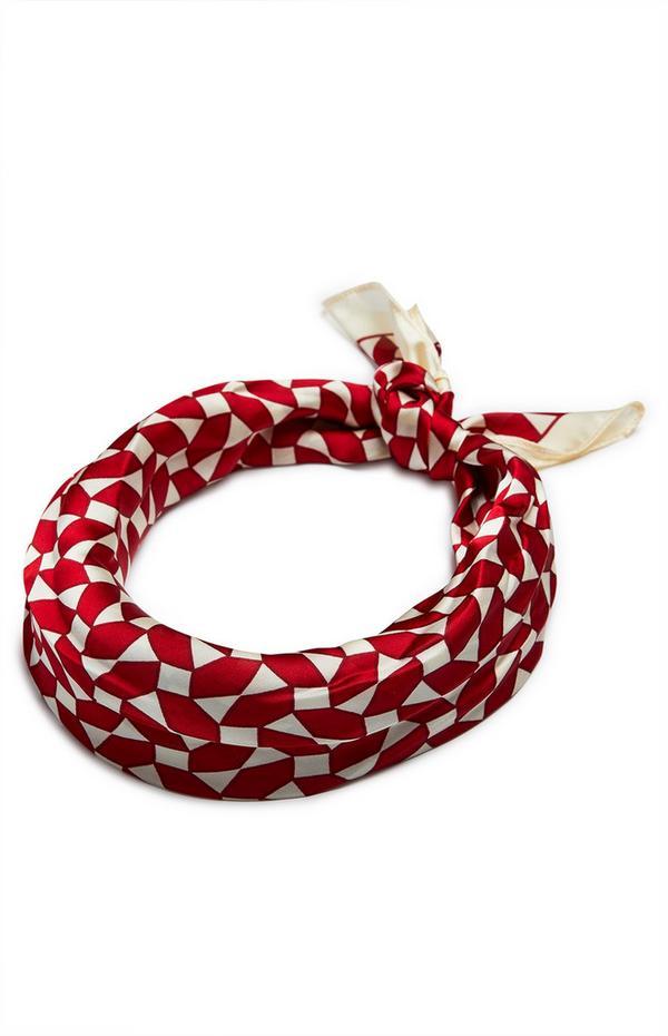 Rood-crèmekleurige satijnen sjaaltje met print