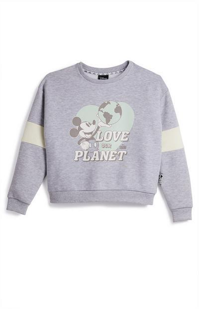 Blauwe sweater met ronde hals Primark Cares met Disney Mickey voor meisjes