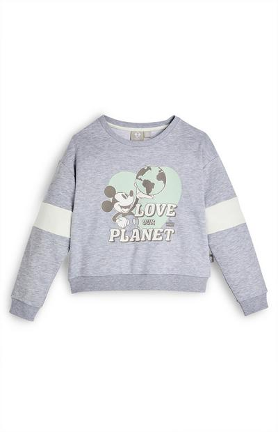 Sweat-shirt ras du cou gris Mickey Mouse Love The Planet Primark Cares Disney fille