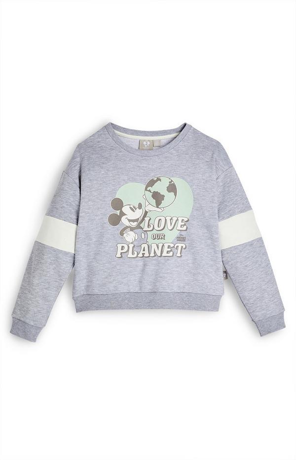 Sudadera de cuello redondo gris de Mickey Mouse con mensaje «Love The Planet» de Primark Cares para niña pequeña