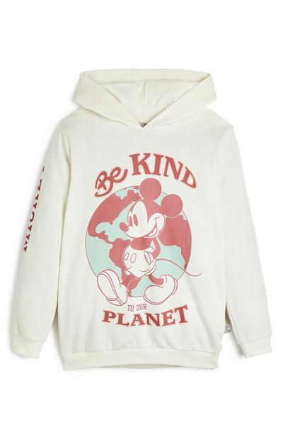 Sweat à capuche blanc à enfiler Mickey Mouse Be Kind To Our Planet Primark Cares Disney fille