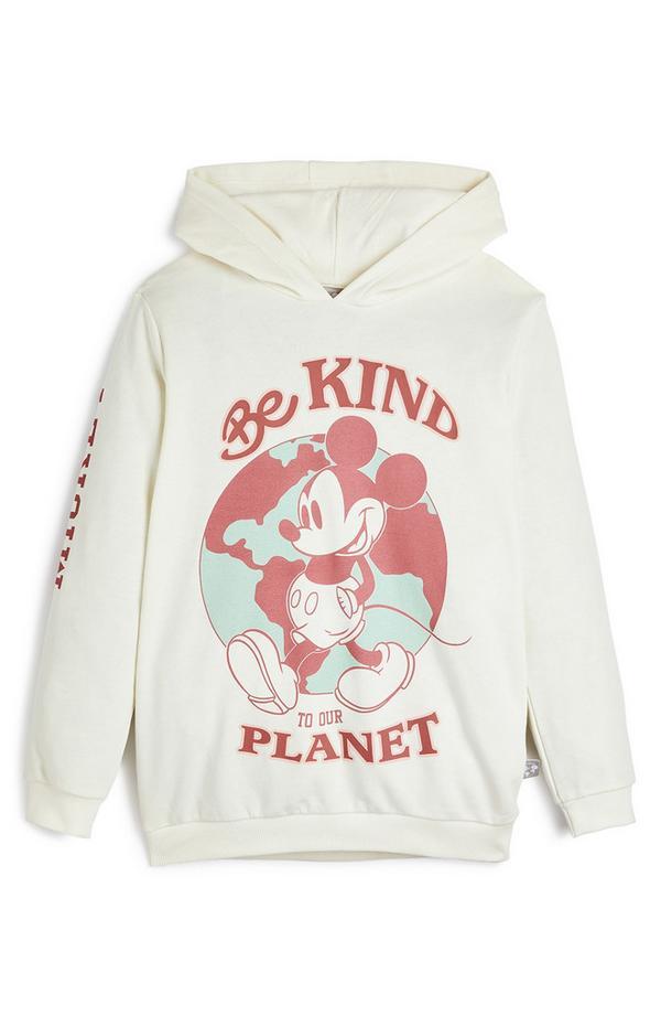 Sudadera blanca con capucha de Mickey Mouse con mensaje «Be To Our Kind Planet» de Primark Cares para niña pequeña