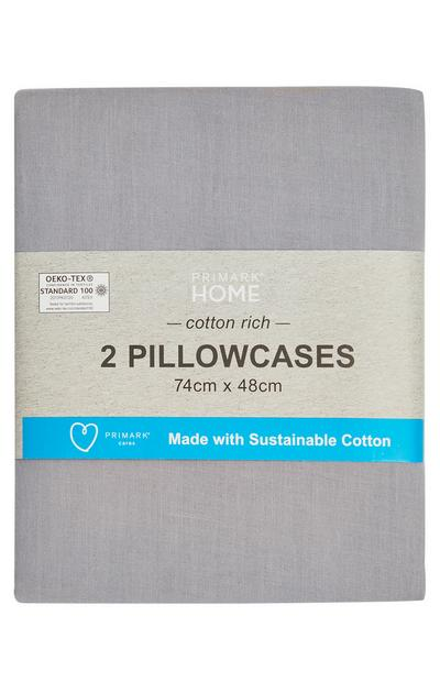 Light Grey Sustainable Cotton Pillowcases Pair