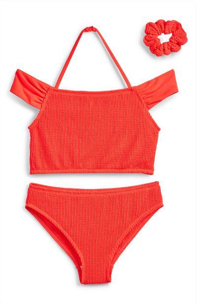 Gerimpelde rode bikini met blote schouders voor meisjes