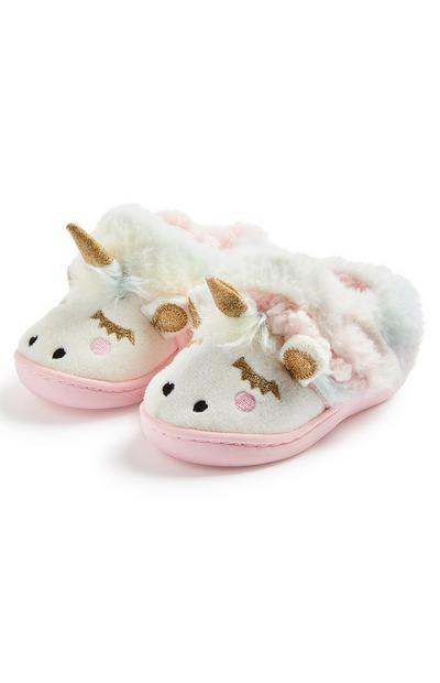 Younger Girl White Unicorn Cupsole Slippers