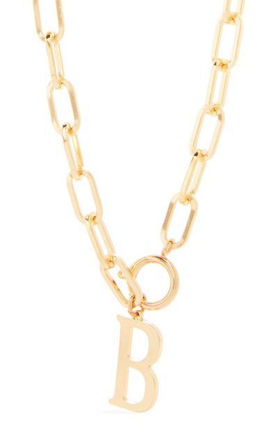 Collier doré épais en chaîne à pendentif initiale B