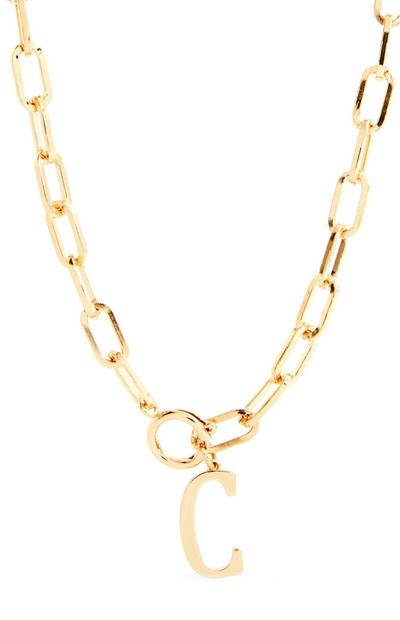 Goldtone Chunky Chain With C Initial Pendant Necklace