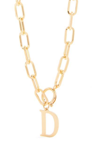Collier doré épais en chaîne à pendentif initiale D