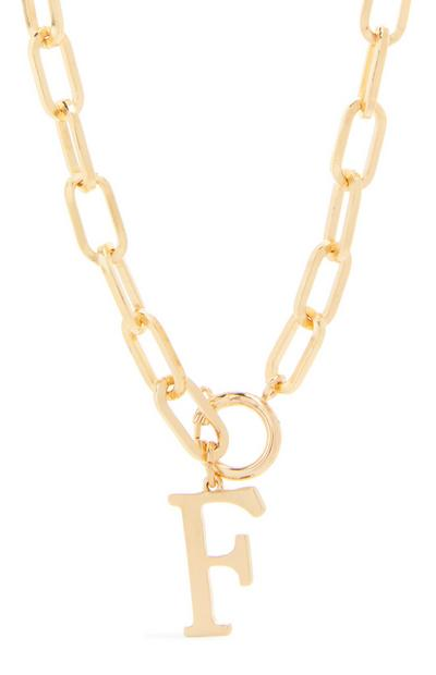 Goldtone Chunky Chain F Initial Pendant Necklace