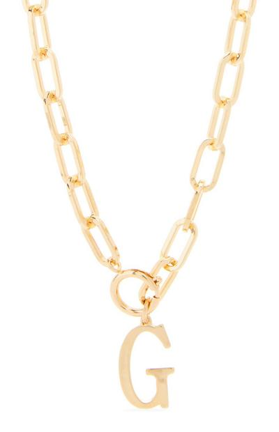 Goldtone Chunky Chain G Initial Pendant Necklace