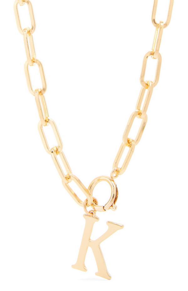 "Grobgliedrige goldfarbene Halskette mit Initiale ""K"""
