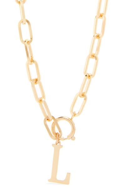 Goldtone Chunky Chain L Initial Pendant Necklace