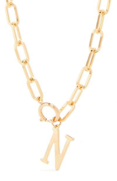 Collier doré épais en chaîne à pendentif initiale N