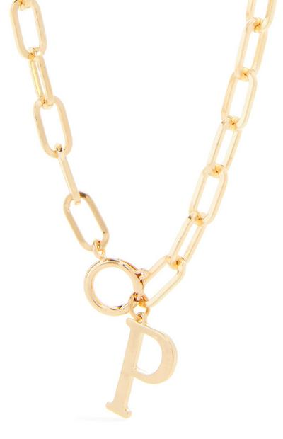 Goldtone Chunky Chain P Initial Pendant Necklace