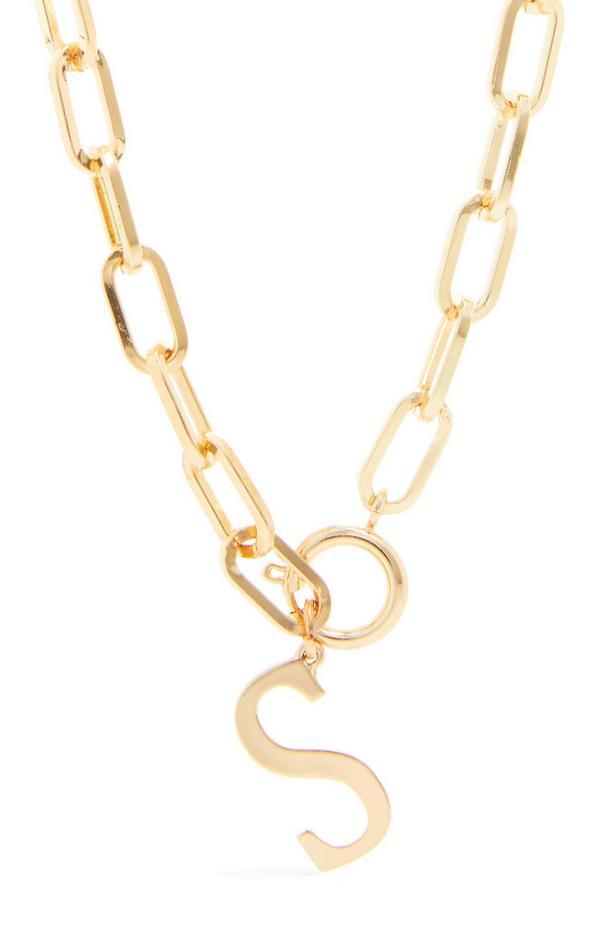 "Grobgliedrige goldfarbene Halskette mit Initiale ""S"""