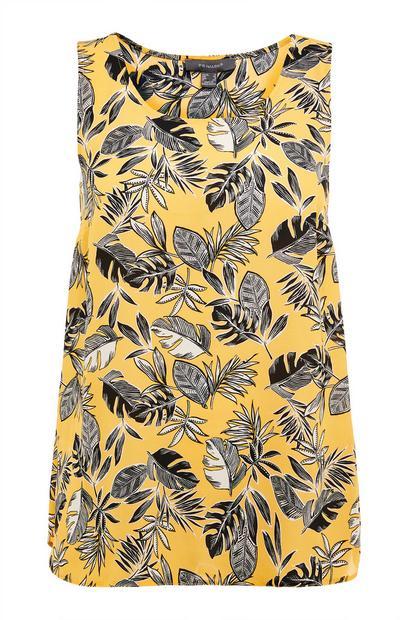 Yellow Leaf Print Volume Vest Top