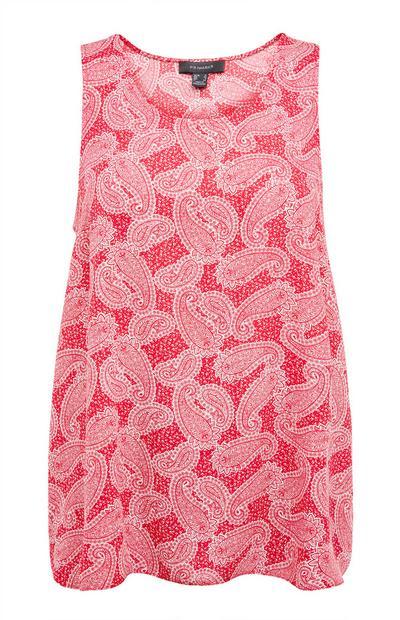 Camiseta sin mangas rosa con volumen y estampado de cachemira