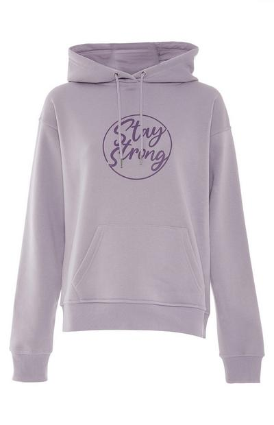 Camisola capuz estampado Stay Strong malva