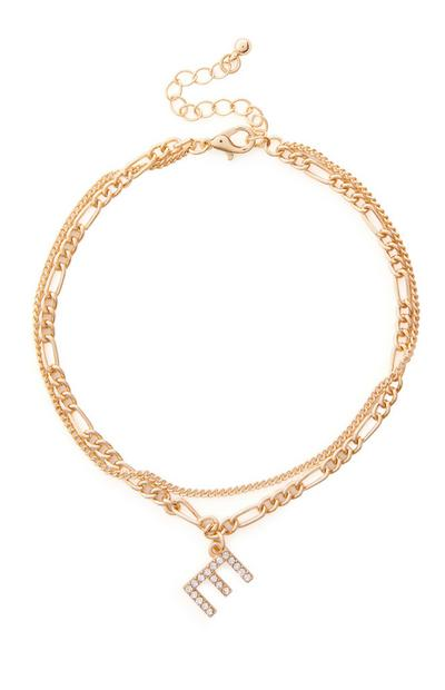 Goldtone Diamante Initial Anklet