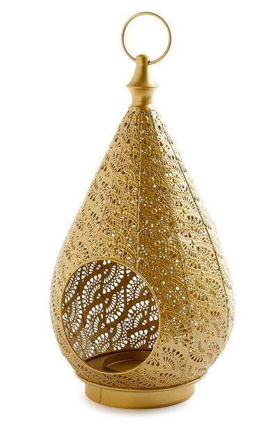 Grote goudkleurige lantaarn in Marokkaanse stijl