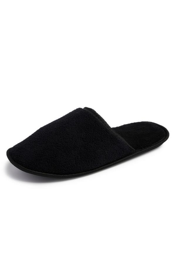 Schwarze Fleece-Hausschuhe