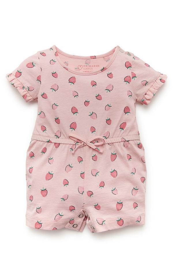 Rosafarbener Jersey-Playsuit mit Erdbeer-Print für Babys (M)